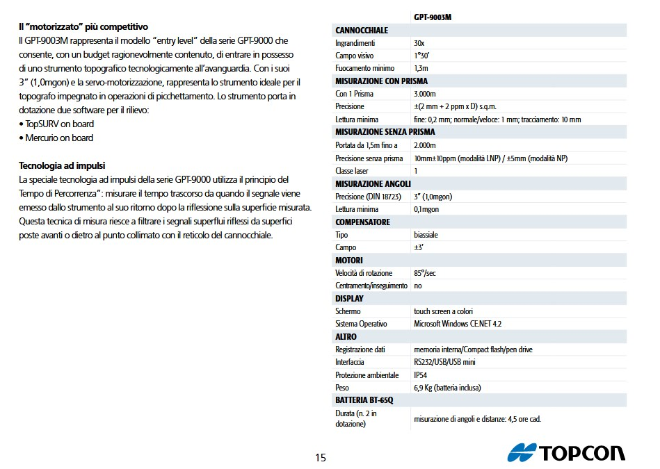 STAZIONE TOTALE TOPCON GPT9003M